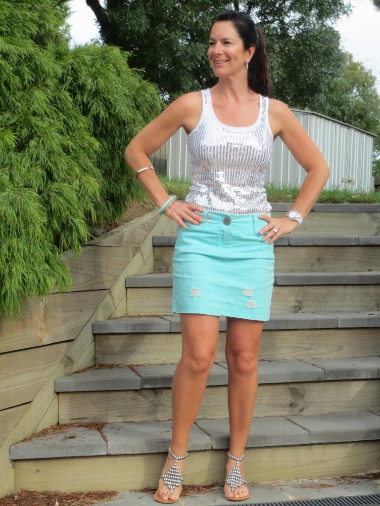 Green denim skirt 1