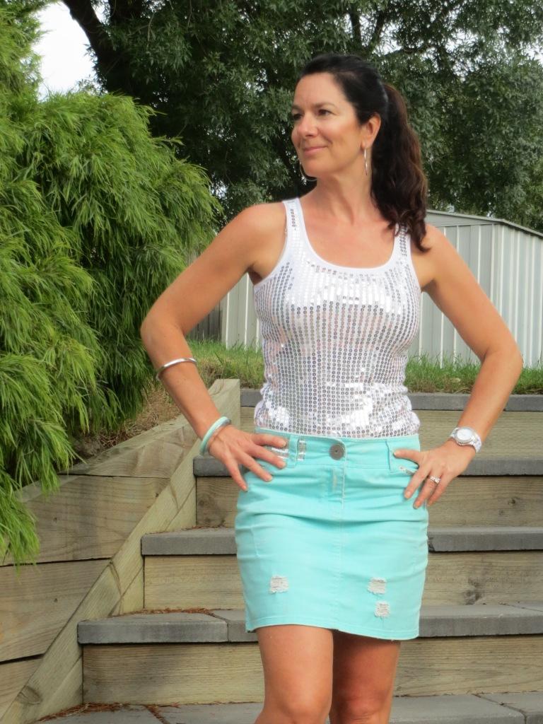 Green denim skirt 2