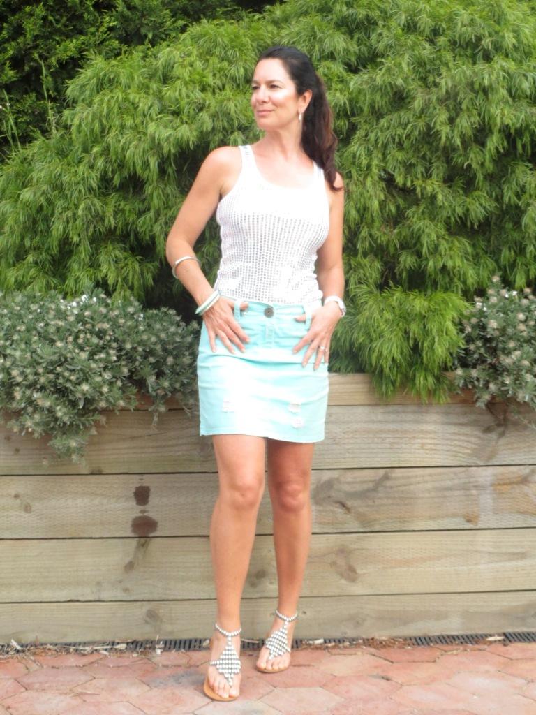 Green denim skirt 5