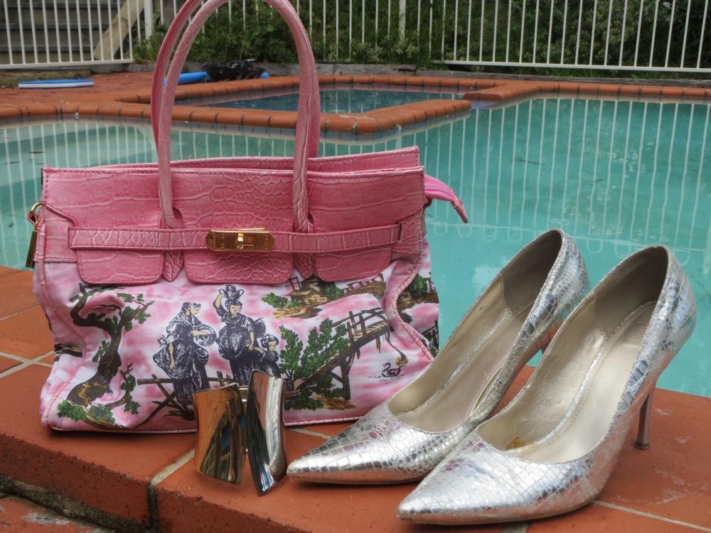 Pink bag, metallic heels & cuff
