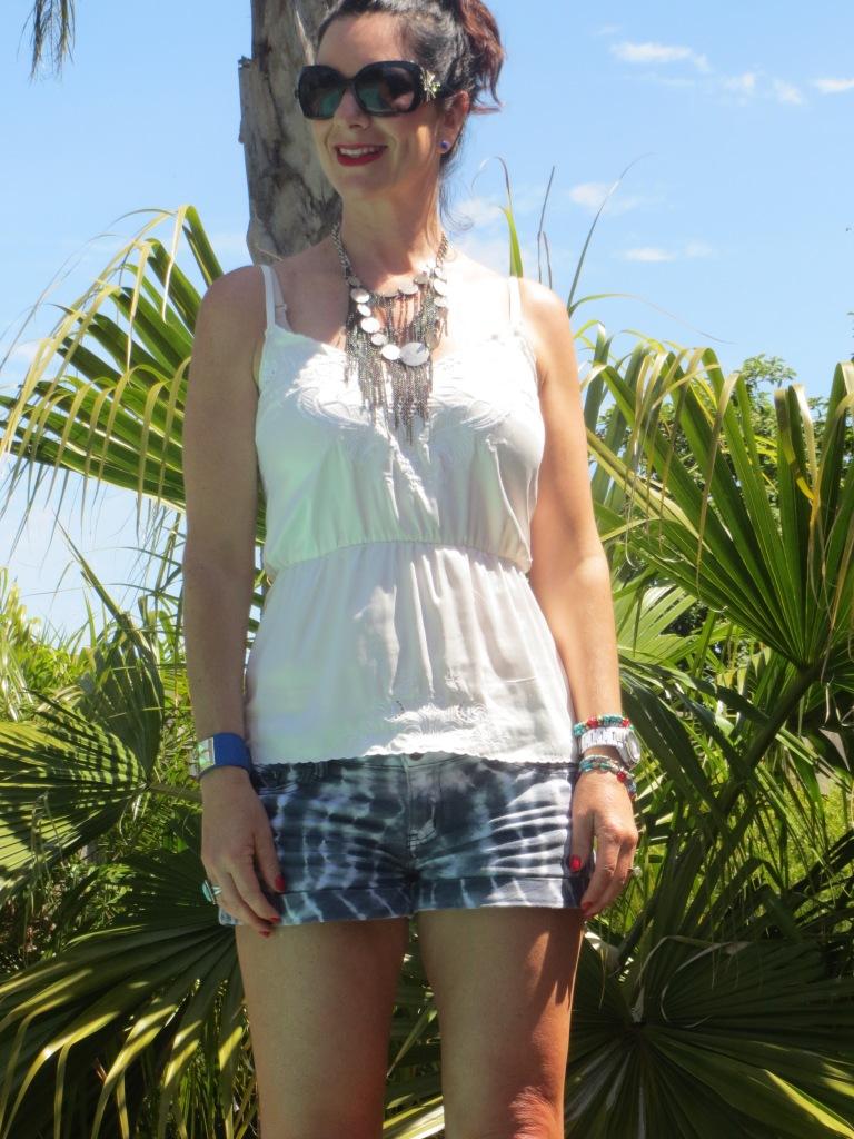Salvos neckpiece, tie-dye shorts 4