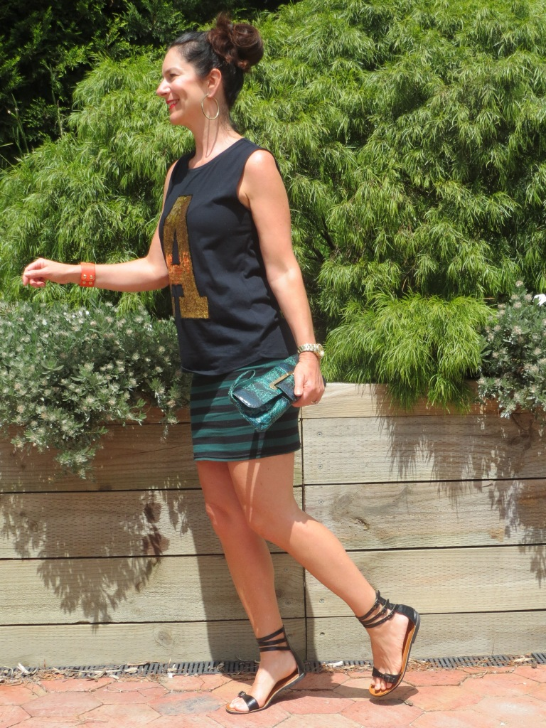 Stripe skirt, gold A 1