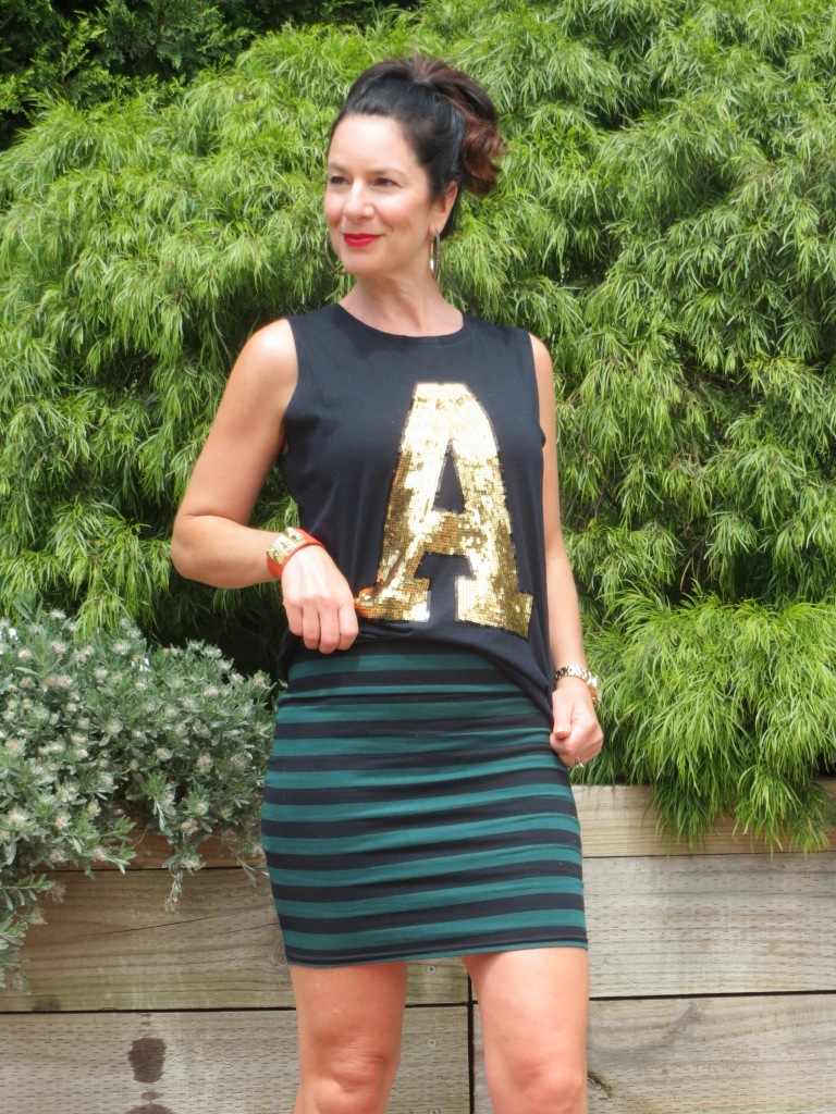 Stripe skirt, gold A 2