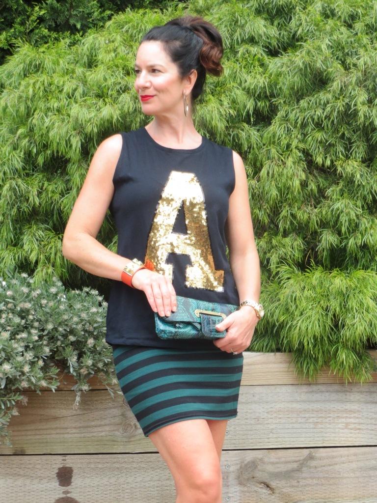 Stripe skirt, gold A 5