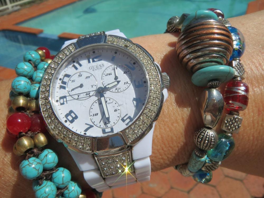 White watch, blue beads