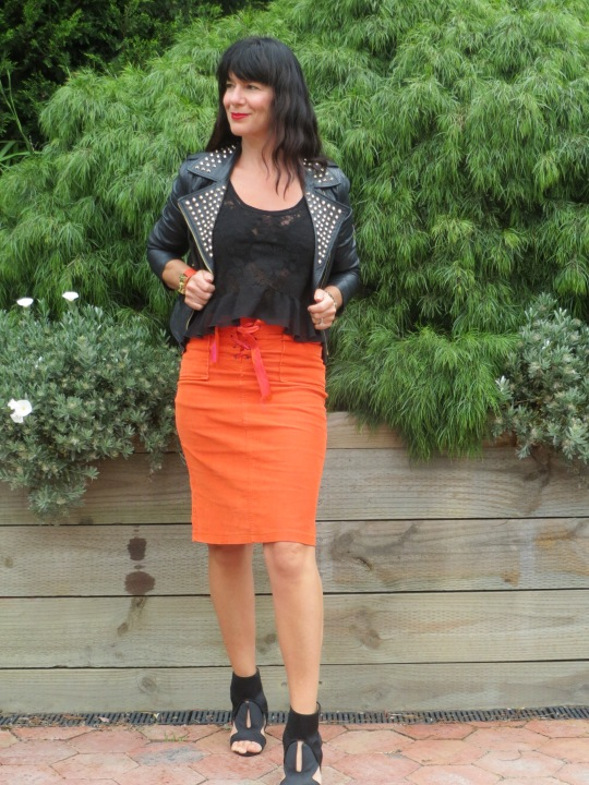 Orange skirt, black leather 1