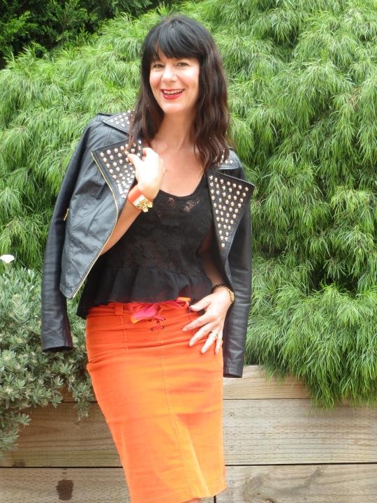 Orange skirt, black leather 3