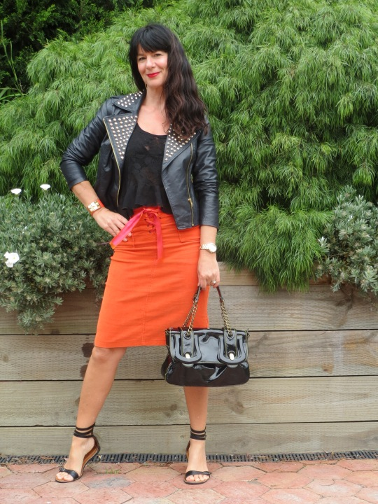 Orange skirt, black leather 4