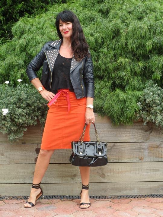 Orange skirt, black leather 4