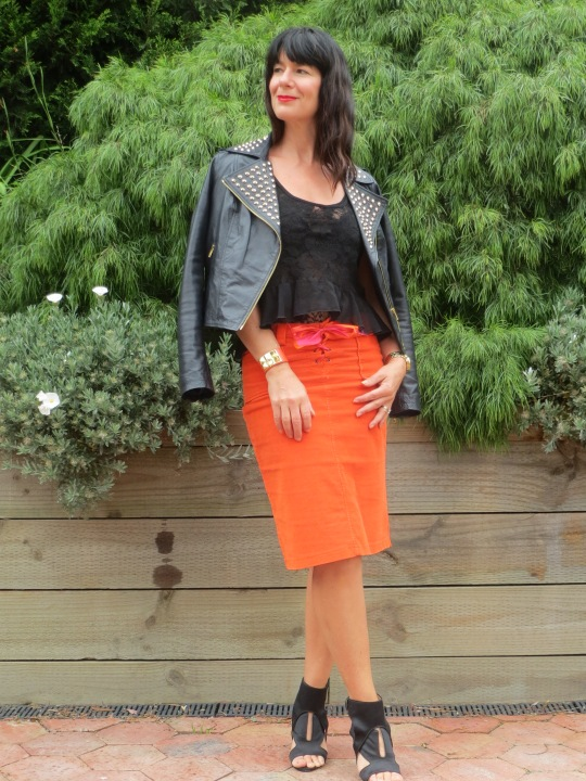 Orange skirt, black leather 5