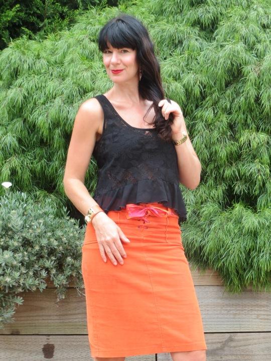 Orange skirt, black leather 6