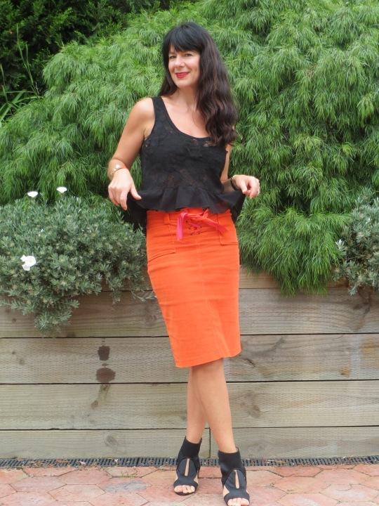Orange skirt, black leather 7